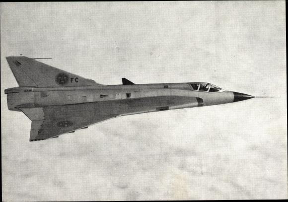 Ak Schwedischer Allwetterjäger Saab J 35A Draken mit Doppel Deltaflügel
