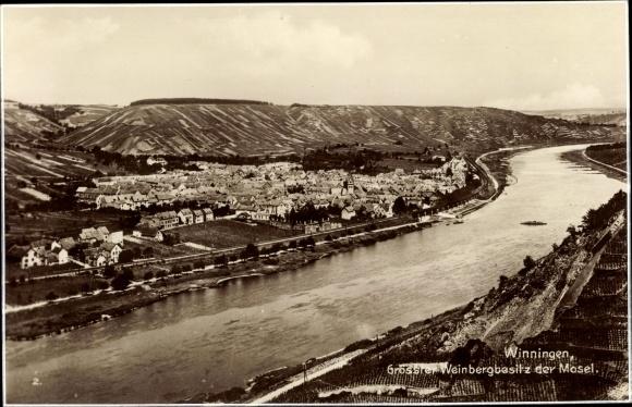 Ak Winningen in Rheinland Pfalz, Panorama vom Ort, Weinberge