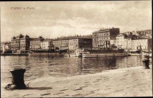 Ak Rijeka Fiume Kroatien, Porto, Hafen