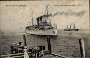 Ak Cuxhaven in Niedersachsen, Turbinendampfer Kaiser, HAPAG
