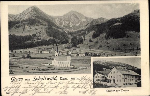 Ak Schattwald in Tirol, Gasthof zur Traube, Panorama