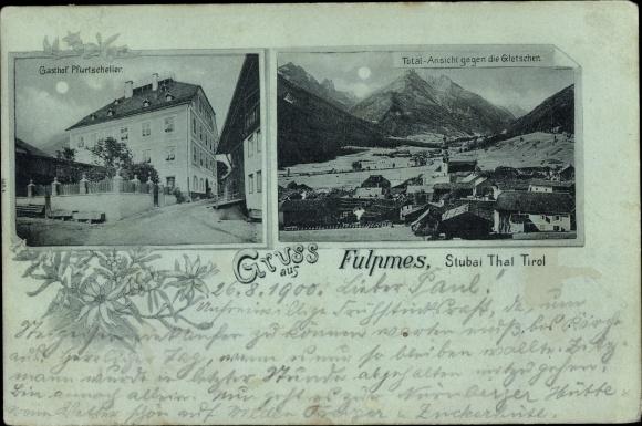 Mondschein Ak Fulpmes in Tirol, Gasthof Pfurtscheller, Totalansicht, Gletscher