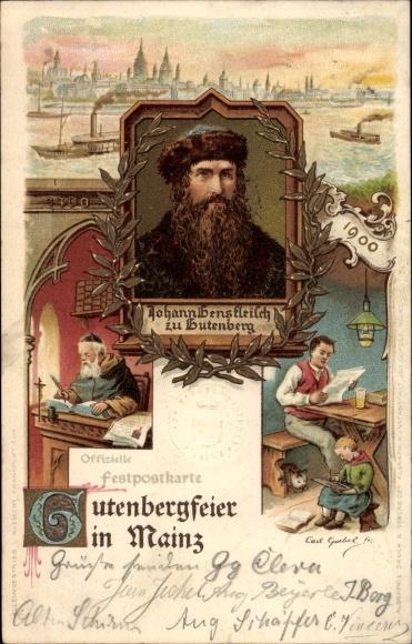 Litho Mainz in Rheinland Pfalz, Johann Gensfleisch zu Gutenberg, Buchdruck