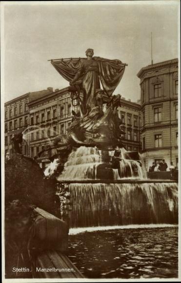 Ak Szczecin Stettin Pommern, Blick auf den Menzelbrunnen, Statue