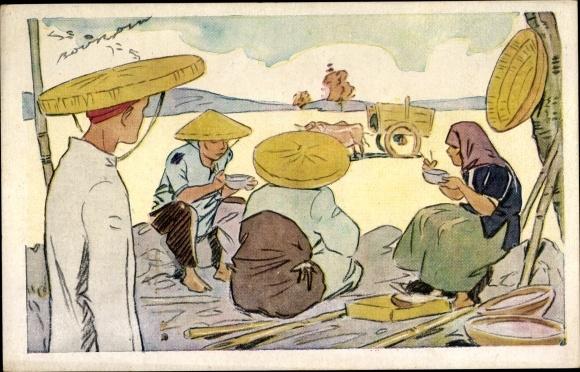 Künstler Ak Vietnam, Le riz d'Indo Chine, repas des Moissonneurs
