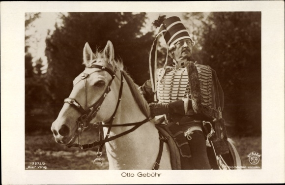 Ak Schauspieler Otto Gebühr, Portrait auf einem Pferd, Ross Verlag 3875 2