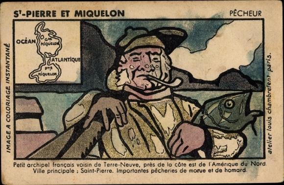Künstler Ak St. Pierre et Miquelon französisches Überseegebiet, Pecheur, Fischer mit Pfeife