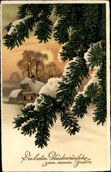 Künstler Ak Glückwunsch Neujahr, Tannenbaum, Haus, Schneelandschaft
