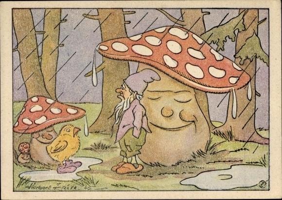 Künstler Ak Feise, Herbert, schlafende Fliegenpilze, Zwerg, Küken, Regen