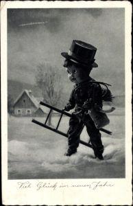 Ak Glückwunsch Neujahr, Schornsteinfeger mit Geldsack