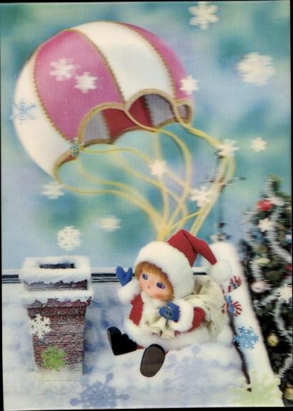 3 D Ak Santa Clause with Parachute, Weihnachtsmann mit Fallschirm