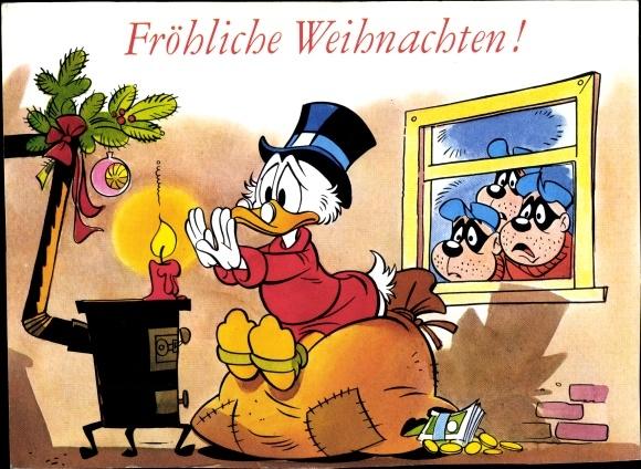 Ak Frohe Weihnachten, Dagobert Duck, Panzerknacker, Walt Disney