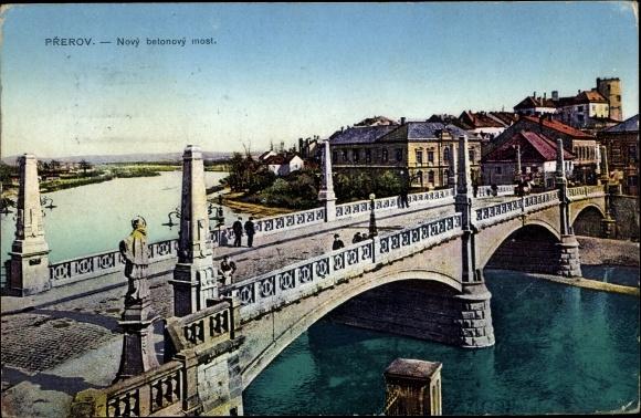Ak Přerov Prerau Reg. Olmütz, Novy betonovy most