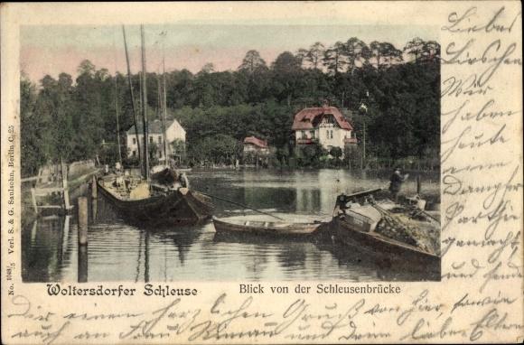 Ak Woltersdorf bei Berlin, Blick von der Schleusenbrücke