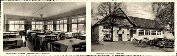 Klapp Ak Langscheid Sundern im Hochsauerlandkreis, Gaststätte Lindenhof, Bes. Karl Becker