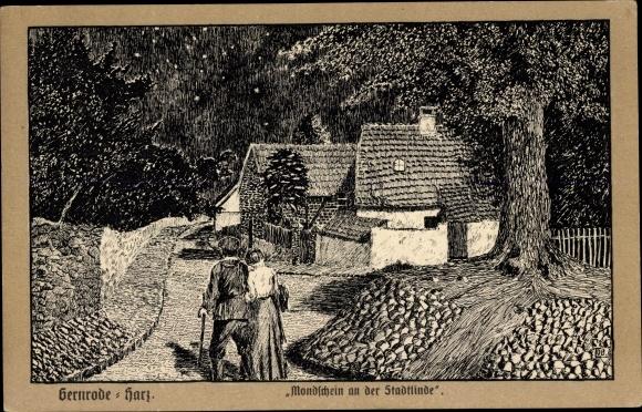 Künstler Ak Gernrode Quedlinburg im Harz, Mondschein an der Stadtlinde