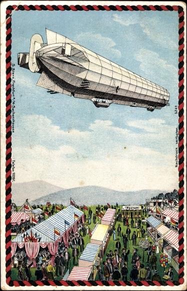 Litho Zeppelin über einem Jahrmarkt, Luftschiff
