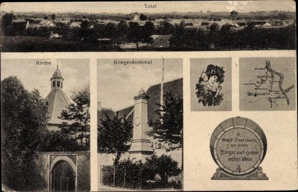 Ak Uelversheim in Rheinland Pfalz, Kirche, Kriegerdenkmal, Weinfass