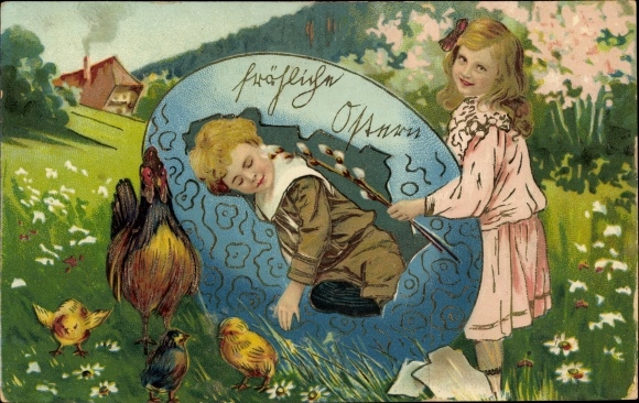 Präge Ak Glückwunsch Ostern, Osterei, Kinder, Hühner