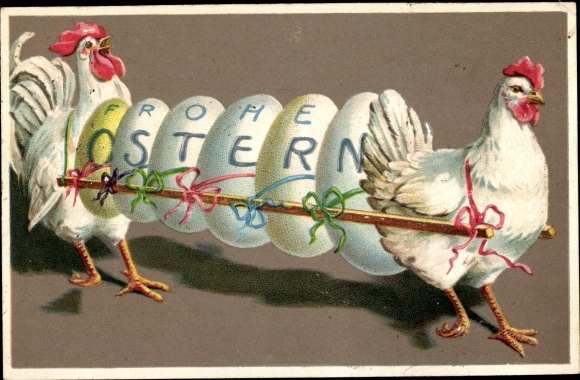 Präge Ak Glückwunsch Ostern, Ostereier, Hühner