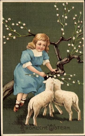 Präge Ak Glückwunsch Ostern, Lämmer, Weidenkätzchen