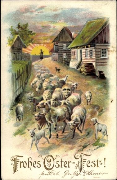 Ak Glückwunsch Ostern, Hirte, Schafe, Lämmer
