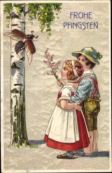 Präge Ak Glückwunsch Pfingsten, Maikäfer auf einer Birke, Kinder