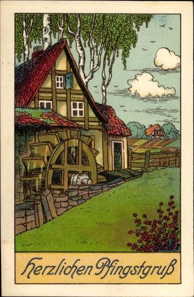 Ak Glückwunsch Pfingsten, Wassermühle