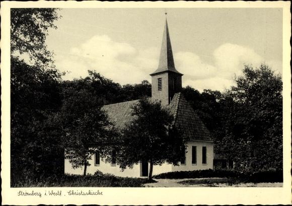 Ak Stromberg Oelde in Westfalen, Blick auf die Christuskirche, Kirchturm
