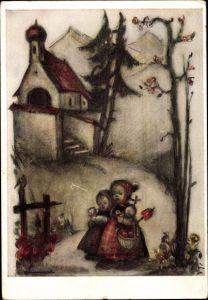 Künstler Ak Hummel, Berta, Zwei Mädchen auf dem Weg von der Kirche, Nr. 5331
