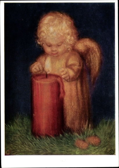 Künstler Ak Spötl, Maria, Dies soll dir gehören, Engel, Kerze