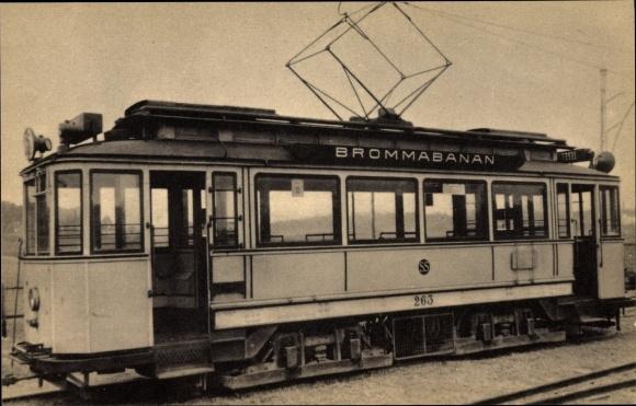 Ak Stockholm Schweden, Stockholms Sparvägar, Brommabanan, Straßenbahn
