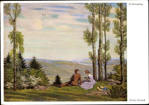 Künstler Ak Einbeck, Walter, Frühlingstag, Paar auf einer Lichtung