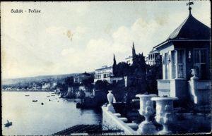 Ak Sansego Susak Kroatien, Pecine, Villen am Ufer