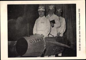 Ak Gruß der Drei aus dem Fulder Weihnachtsstall 1955