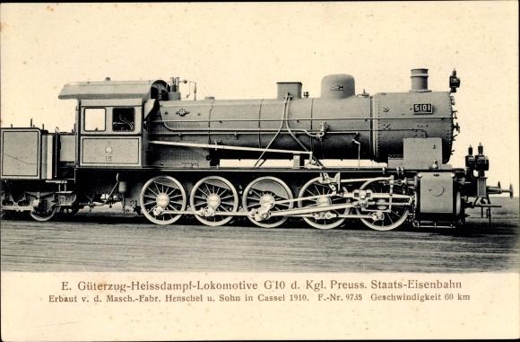 Ak Deutsche Eisenbahn, Dampflokomotive, E Güterzug Heißdampf Lok, G 10