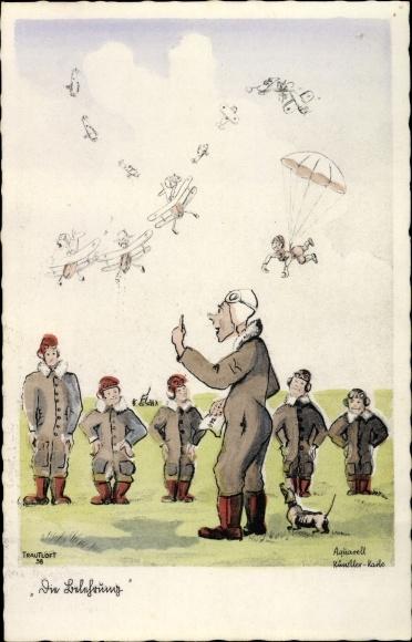 Künstler Ak Die Belehrung, Flugstunden, Fallschirm