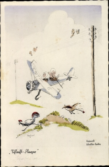 Künstler Ak Schlachtflieger, Vogeljagd aus dem Flugzeug heraus