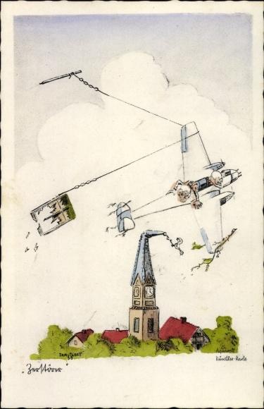 Künstler Ak Zerstörer, Flugzeug fliegt Kirchturm ab, Zaun