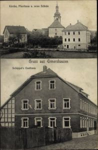 Ak Ermershausen Oberfranken, Kirche, Pfarrhaus, Schule, Schippel's Gasthaus