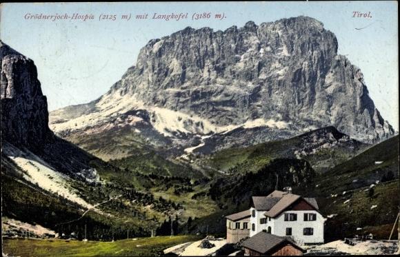 Ak Tirol, Grödnerjoch Hospiz mit Langkofel