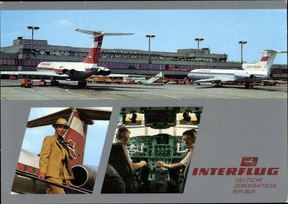 Ak Flughafen Berlin Schönefeld, Passagierflugzeuge Interflug, Aeroflot, Piloten im Cockpit