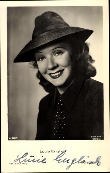 Ak Schauspielerin Lucie Englisch, Portrait, Hut, Autogramm