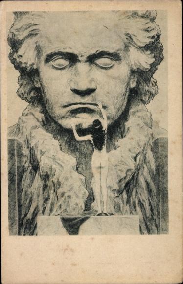 Jugendstil Ak Fidus, Komponist Ludwig van Beethoven, Kohledruck, Frauenakt