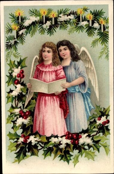 Litho Zwei Engel, Tannenzweig, brennende Kerzen, Stechpalmenzweig