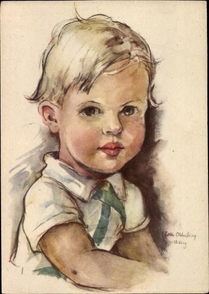 Künstler Ak Oldenburg Wittig, Lotte, Kinderportrait