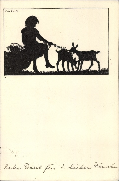 Scherenschnitt Künstler Ak Carus, Kind mit Ziegen