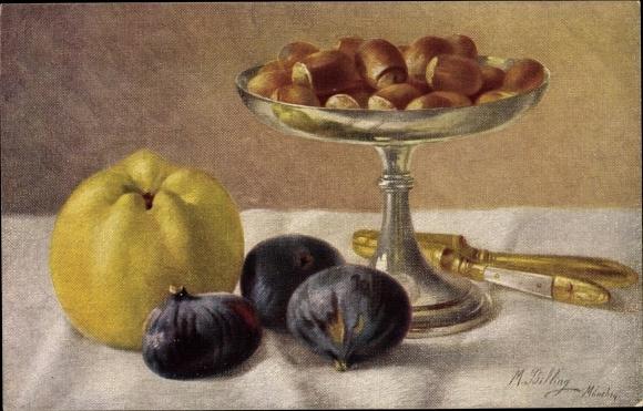 Künstler Ak Billing, M., Stillleben, Zwiebeln, Apfel, Haselnüsse