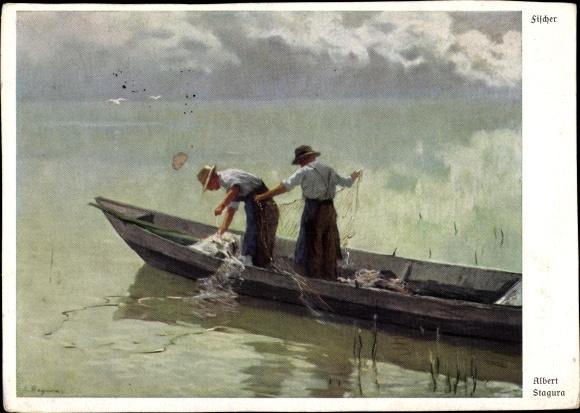 Künstler Ak Stagura, Albert, Fischer, Fangnetze, Boot