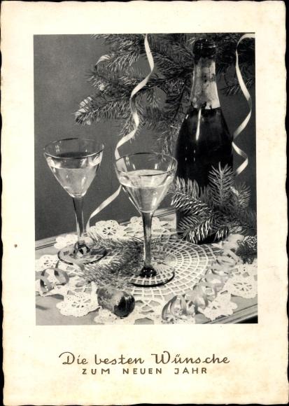 Ak Glückwunsch Neujahr, Sektflasche, Sektgläser